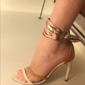 Authentic Emilio Pucci heels with ankle scarves